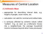 measures of central location