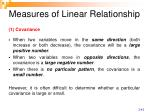 measures of linear relationship