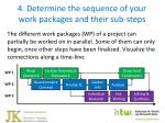 4 determine the sequence of your work packages and their sub steps