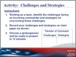 activity challenges and strategies