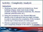 activity complexity analysis