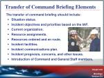 transfer of command briefing elements
