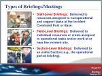 types of briefings meetings