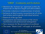 hrm continuity and evolution