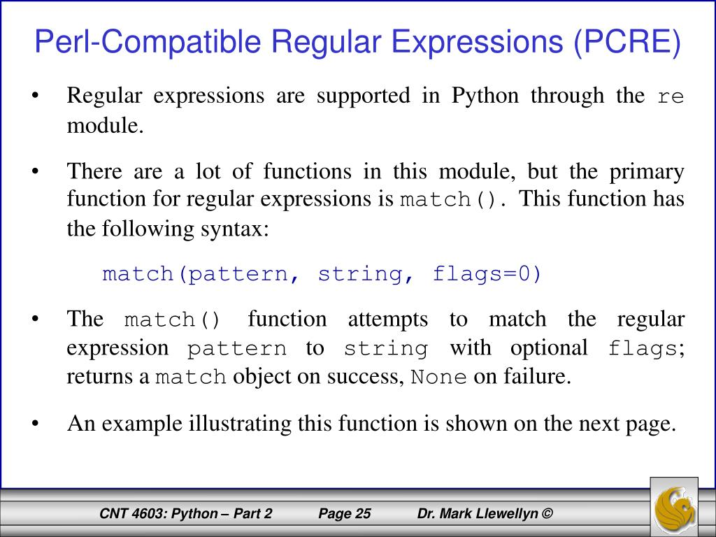 PPT - CNT 4603: System Administration Spring 2012 Python – Part 2