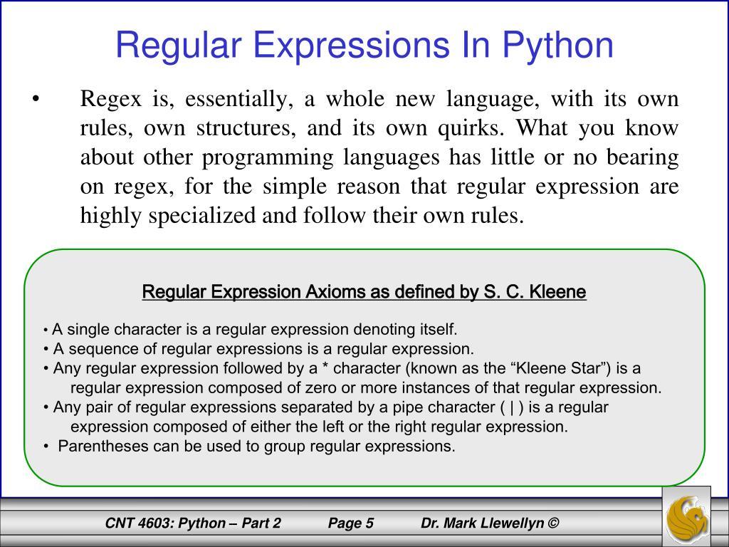 PPT - CNT 4603: System Administration Spring 2012 Python
