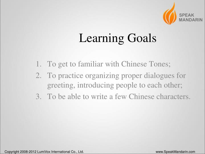 learning goals n.
