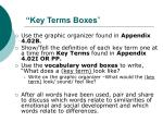 key terms boxes