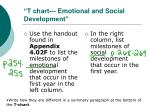 t chart emotional and social development