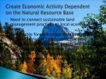 create economic activity dependent on the natural resource base
