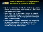 position statement on geographical education in australian schools