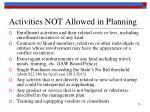 activities not allowed in planning1