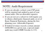 note audit requirement