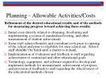 planning allowable activities costs