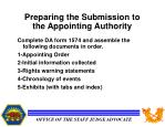 preparing the submission to the appointing authority