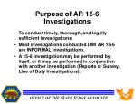 purpose of ar 15 6 investigations