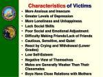 characteristics of victims