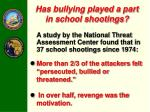 has bullying played a part in school shootings