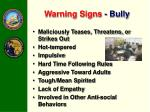 warning signs bully