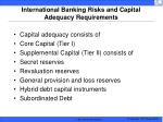 international banking risks and capital adequacy requirements