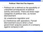 political risk and tax aspects