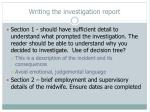 writing the investigation report