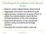 calculating the coordinates of the beacon nodes