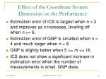 effect of the coordinate system dimension on the performance
