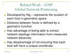related work gnp global network positioning