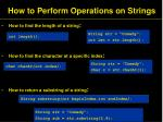 how to perform operations on strings