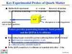 key experimental probes of quark matter