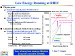 low energy running at rhic