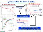 quark matter produced at rhic