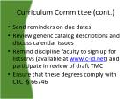 curriculum committee cont