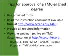 tips for approval of a tmc aligned degree