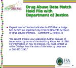 drug abuse data match hold file with department of justice