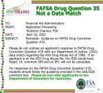fafsa drug question 35 not a data match
