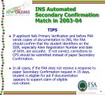 ins automated secondary confirmation match in 2003 042