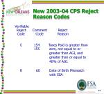 new 2003 04 cps reject reason codes