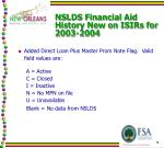 nslds financial aid history new on isirs for 2003 20041