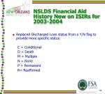 nslds financial aid history new on isirs for 2003 20042