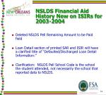 nslds financial aid history new on isirs for 2003 20043