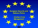 european security and defence policy civilian crisis management