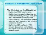 lecture 3 learning outcomes