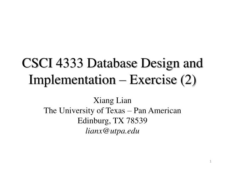 csci 4333 database design and implementation exercise 2 n.