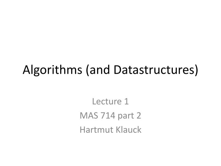 algorithms and datastructures n.