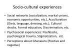 socio cultural experiences