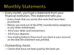 monthly statements