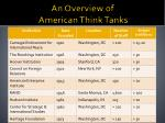 an overview of american think tanks