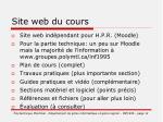 site web du cours